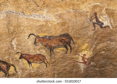Petroglyph of hunters and animals
