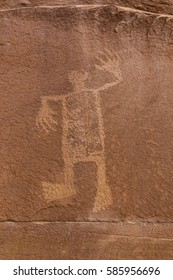 A petroglyph image of the Wolfman on the cliffs of Butler Wash in the Comb Ridge aea of the new Bears Ears National Monument.