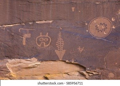 A petroglyph panel with a variety of symbols portrayed on the cliffs of Butler Wash in the Comb Ridge aea of the new Bears Ears National Monument.