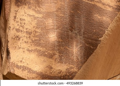 Petroglyph or rock art carvings of Native Americans on a canyon wall in Freemont,  National Park Capitol Reef  Utah, USA