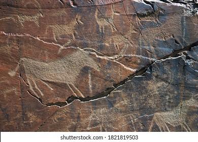 Petroglyph in Tamgaly, UNESCO World Heritage Site, Kazakhstan