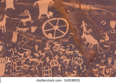 Petroglyphs carved in rocks by the Navajo and Hopi native American tribes.