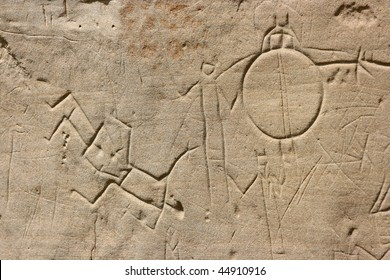 Petroglyphs (Native rock carving) in Writing-On-Stone Provincial Park, Alberta, Canada.