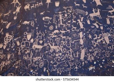 Petroglyphs at Newspaper Rock in Utah.