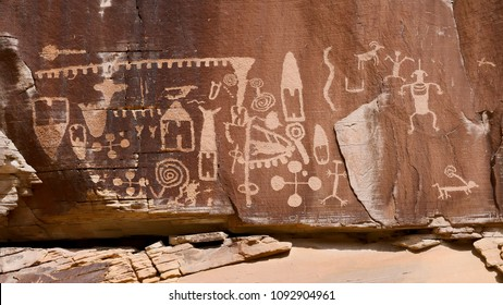 Petroglyphs on the Kohta Circus petroglyph panel, Gold Butte in Nevada, USA