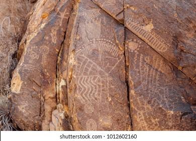 Petroglyphs at Parowan Gap, Utah.