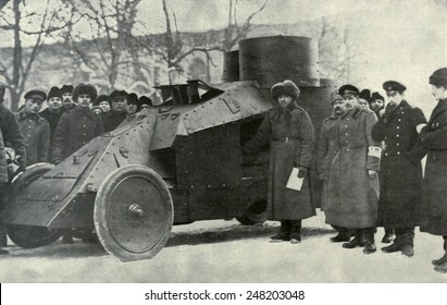Petrograd City Militia replaced the Czarist police during Russian Revolution. 1917. They were a temporary police force formed by volunteers, who in this case commandeered an armored car.
