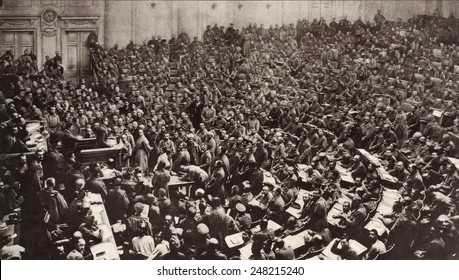 Petrograd Soviet of Workers' and Soldiers' Deputies. March 1917. State Duma, contained a spectrum of leftist, but was not under the control of the Bolsheviks in the early days of the Revolution.