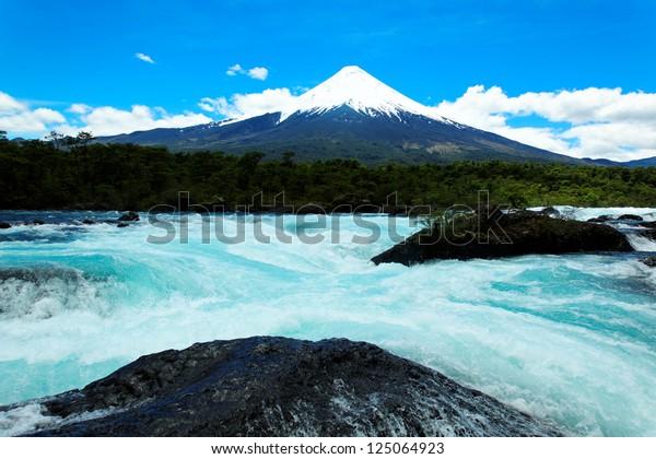 Petrohue Falls with Osorno Volcano, Patagonia, Chile, South America