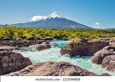 Petrohue Falls and Osorno Volcano. South Patagonia. Chile.