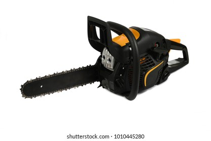 Petrol chainsaw isolated on white background