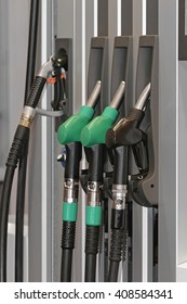 Petrol and Diesel Gasoline Nozzles at Filling Station