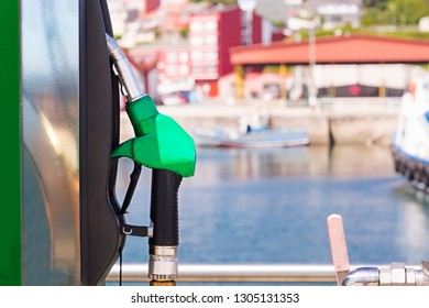 petrol fuel  gas station in port for boats and yachts