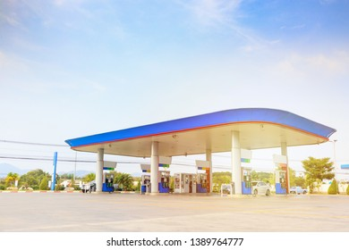 Petrol gas fuel station with clouds and blue sky
