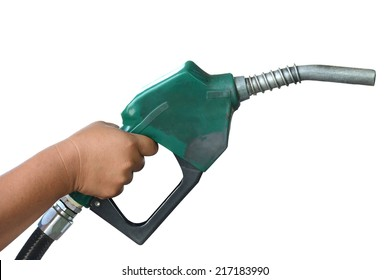 Petrol gas station pump and pumping gasoline fuel clipping path