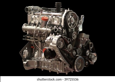 Petrol (Gasoline) Engine Closeup Isolated on Black