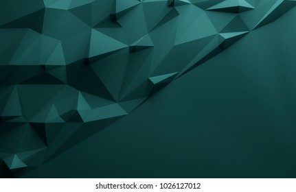 Petrol green triangular textured lowpoly background