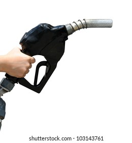 Petrol pump filling isolated against white background. selective focus.