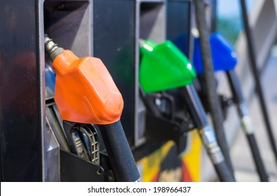 Petrol pump station ,focus on the first nozzle