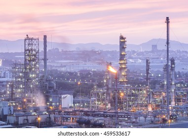 Petroleum factory and Oil refinery Industrial in the morning