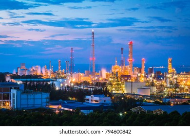 Petroleum oil refinery plant. Landscape view and twilight time of refinery industrial plant. Image for business industrial and technology concept