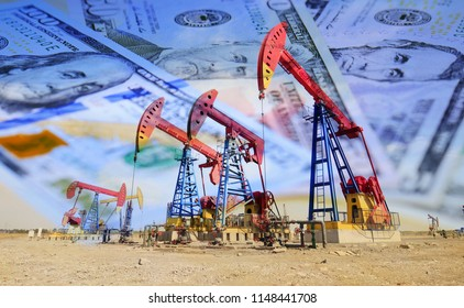 Petroleum, petrodollar and crude oil concept, Oil pump on background of US dollar, Dollars and oil pumps