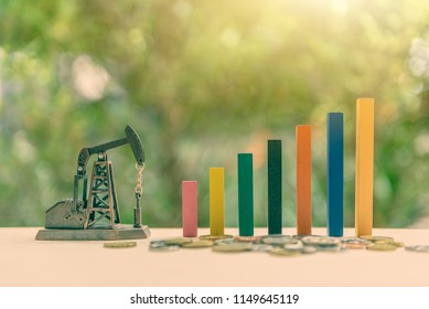 Petroleum, petrodollar and crude oil concept : Small oil pump jack and colored wood bar graph with coins, depicts the increasing in the investment and development or production of global oil industry