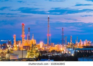 Petroleum plant , Oil refinery industrial factory on twilight time