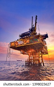 Petroleum platform and beautiful morning
