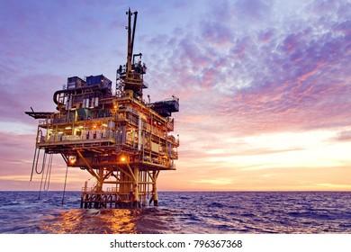 Petroleum Production Platform at Sea with blue sky