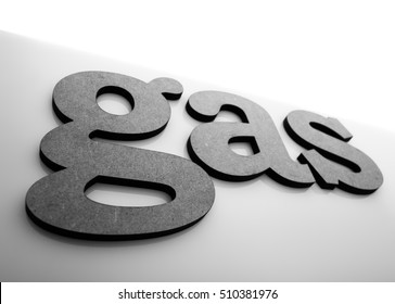 Petroleum, refinery & natural gas industry and business theme. The word GAS to be composed volumetric lowercase letters on glossy surface backgrounds.  BW photo.