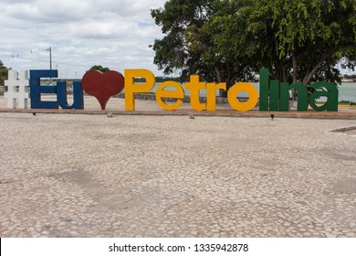 PETROLINA, PE, BRAZIL - JULY 12, 2018: It is one of the most important cities of the region of the San Francisco River Valley. In this picture we can see the city ​​monument mark.