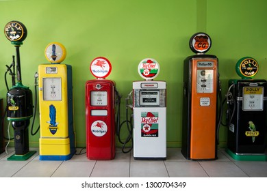Petrolium stations at the museum of the nong nooch tropical garden near the city of Pattaya in the Provinz Chonburi in Thailand.  Thailand, Pattaya, November, 2018