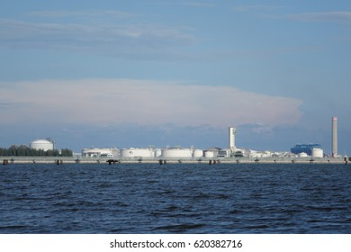 Petrolium Tanker Maptaput Rayong Thailand - April 13, 2017 for kept petrolium before and after refinery process to keep and distribuilt by management team.