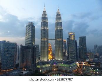 Petronas towers in Kuala Lumpur, Malaysia. February 2015.