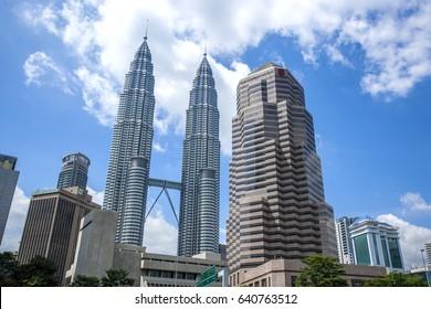 The Petronas Towers in Kuala Lumpur, Malaysia. 16 March 2017.