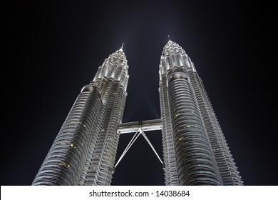 Petronas Towers at night. Kuala Lumpur city