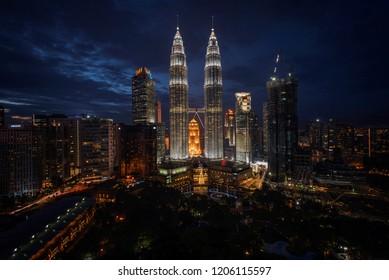 Petronas Twin Tower in Kuala Lumpur, Malaysia during blue hour on 16 August 2017.