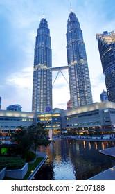 Petronas Twin Towers and Kuala Lumpur Tower, night scene, 2003.