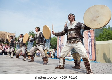 PETROPAVLOVSK, KAMCHATKA, RUSSIA - JULY 1, 2012: Performance of the KORITEV - Kamchatka National Youth Dance Ensemble. Celebration of Day of the first fish - a national holiday aborigine of Kamchatka.