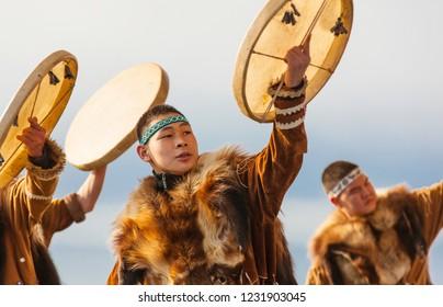 PETROPAVLOVSK, KAMCHATKA, RUSSIA - NOVEMBER 4, 2018: Folk ensemble performance in dress of indigenous people of Kamchatka. The holiday Northern aboriginal Koryak was Hololo.