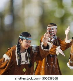 PETROPAVLOVSK, KAMCHATKA, RUSSIA - OCT 18, 2016: Kamchatka National Youth Dance Ensemble. Celebration of birthday city. National Aboriginal dance Kamchatka