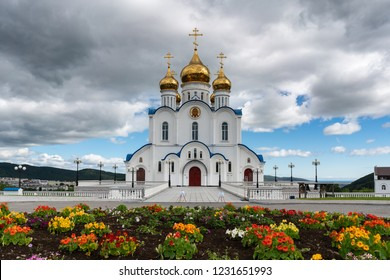 PETROPAVLOVSK KAMCHATSKY CITY, KAMCHATKA PENINSULA, RUSSIA - AUG 17, 2018: Holy Trinity Orthodox Cathedral of Petropavlovsk, Kamchatka Peninsula Diocese of Russian Orthodox Church Moscow Patriarchate
