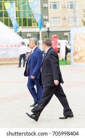 Petropavlovsk, Kazakhstan - August 30, 2017: Kazakhstan marks Constitution Day. People in national costumes, holiday festivities.