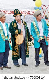 Petropavlovsk, Kazakhstan - August 30, 2017: Kazakhstan marks Constitution Day. People in national costumes, holiday festivities.