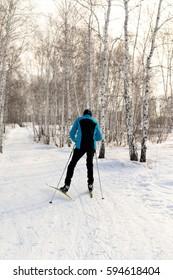"PETROPAVLOVSK, KAZAKHSTAN - FEBRUARY 4, 2017: Festival, Ski Marathon ""Health Day"", men and women's competitions in Northern Kazakhstan."
