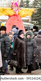 PETROPAVLOVSK, KAZAKHSTAN - MARCH 26, 2017: Shrovetide - folk festivals. Effigies straw Maslenitsa on the traditional holiday dedicated to the approach of spring. Kazakhstan.