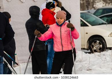 "PETROPAVLOVSK, KAZAKHSTAN - MARCH 4, 2018: Festival, Ski Marathon ""Health Day"", men and women's competitions in Northern Kazakhstan."