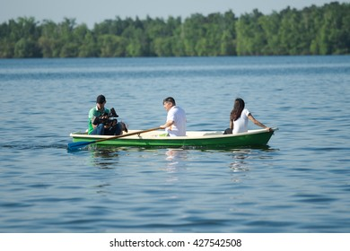 "Petropavlovsk, Kazakhstan - May 28, 2016: ""Day Card"", participating fishermen holiday organization and press on Lake Motley, Petropavlovsk Kazakhstan. Fisherman's Day."
