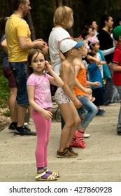 Petropavlovsk, Kazakhstan - May 28, 2016: GREEN PARK Luxury Family Park Hotel. Children and parents relax, play, dance. The resort area Petropavlovsk, Kazakhstan.